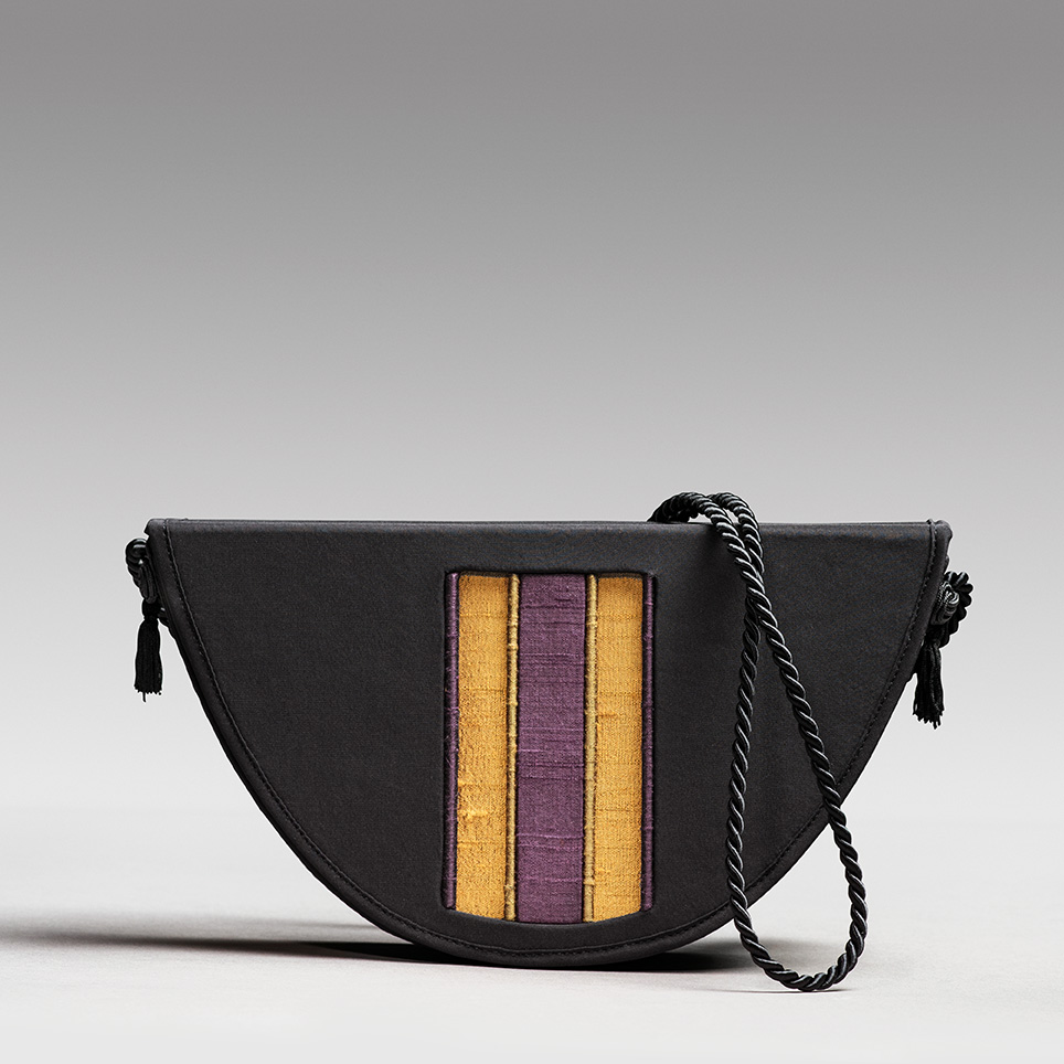 Silk charmeuse evening bag with window of brightly contrasting silk dupioni.
