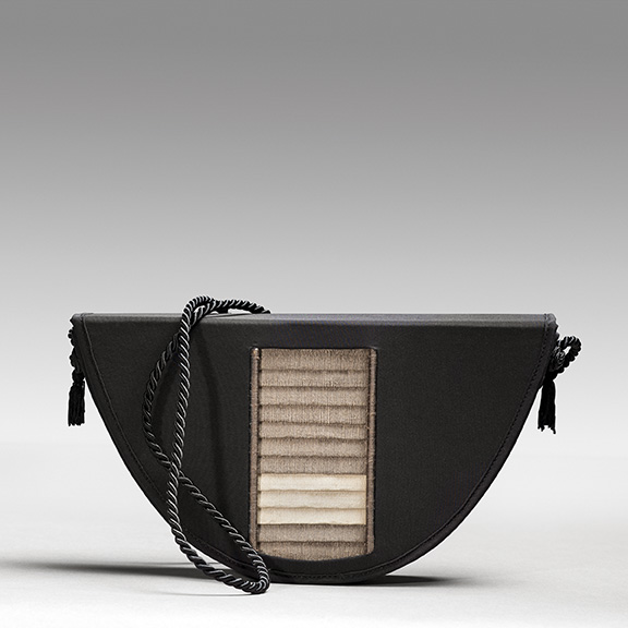 Silk charmeuse evening bag with window of richly textured silk dupioni.